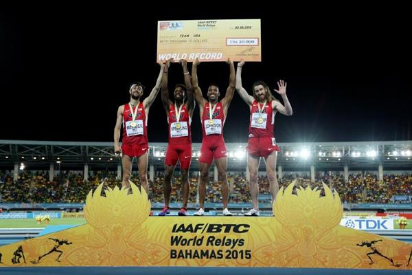 USA celebrate their victory and world record in the distance medley at the IAAF/BTC World Relays, Bahamas 2015 (Getty Images)