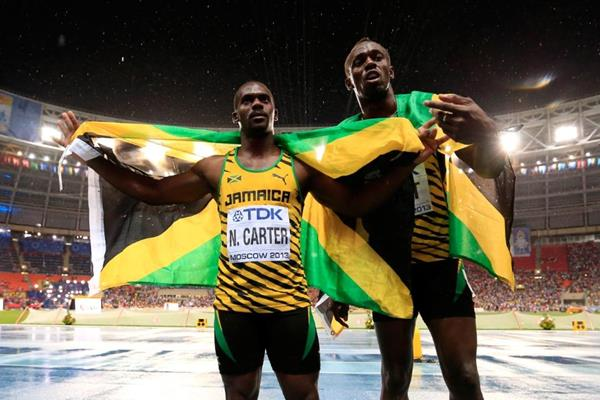 Usain Bolt and Nesta Carter in the mens 100m Final at the IAAF World Championships Moscow 1013 (Getty Images)