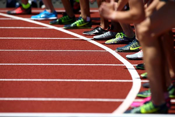 Athletes on the start line at Hayward Field in Eugene, USA (Getty Images)