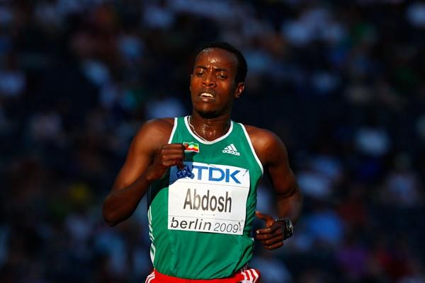 Ali Abdosh of Ethiopia chases the leading pack in the men's 5000m heats after a fall (Getty Images)