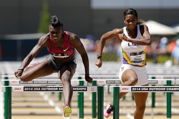 Dawn Harper Nelson and Jasmin Stowers (left) at the 2014 US Championships  (Getty Images)