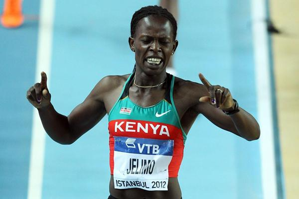 Pamela Jelimo of Kenya crosses the line to win gold in the Women's 800 Metres Final during day three - WIC Istanbul (Getty Images)