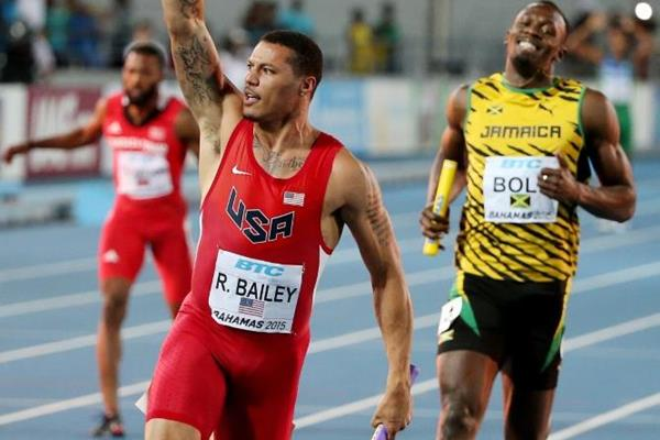 Ryan Bailey anchors the USA to 4x100m victory ahead of Jamaica at the IAAF/BTC World Relays, Bahamas 2015 (Getty Images)