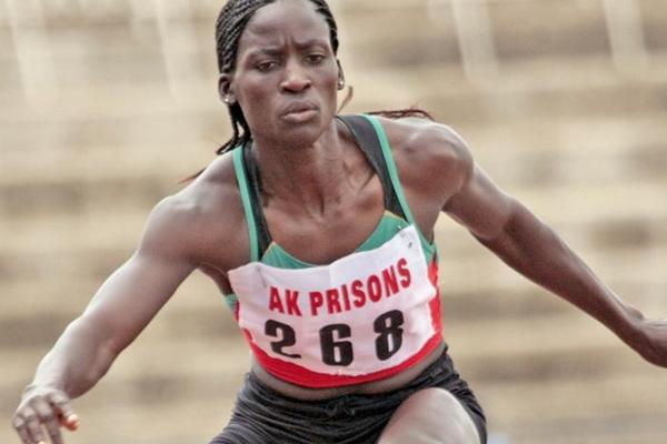 Florence Wasike in the 400m Hurdles at the Kenyan Prisons champs, one of her four victories at the meeting (Elias Makori)