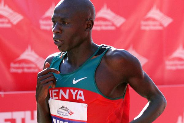Moses Mosop of Kenya wins the Bank of America Chicago Marathon on October 9, 2011 (Tasos Katopodis/Getty Images)