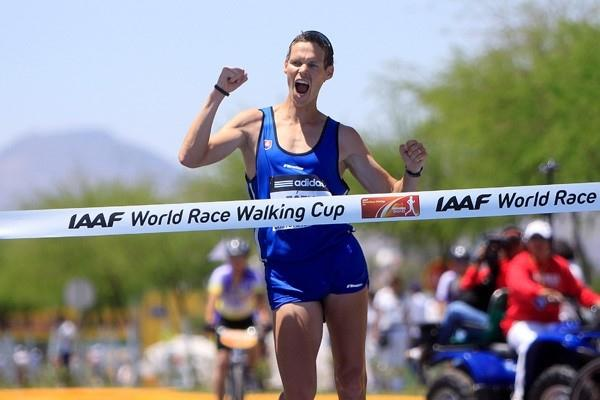 Matej Toth of Slovakia wins the 50km race walk in Chihuahua, Mexico (Getty Images)
