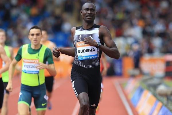 David Rudisha winning the 600m at the 2014 IAAF Diamond League meeting in Birmingham (Jean-Pierre Durand)