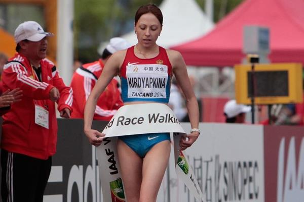 Anisya Kirdyapkina winning the women's 20km at the 2014 IAAF World Race Walking Cup (Getty Images)