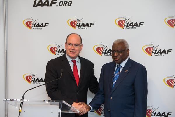 His Serene Highness Prince Albert II and IAAF President Lamine Diack on 21 November 2014 (IAAF / Philippe Fitte)