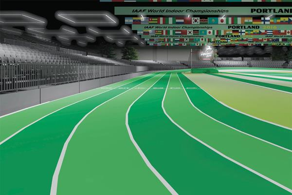 A digital render of how the Oregon Convention Center will look for the IAAF World Indoor Championships, Portland 2016 (LOC)