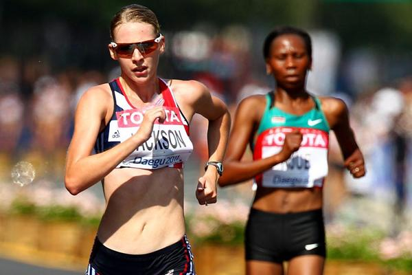 Johanna Jackson (L) of Great Britain and Grace Wanjiru Njue of Kenya compete in the women's 20km race walk (Getty Images)