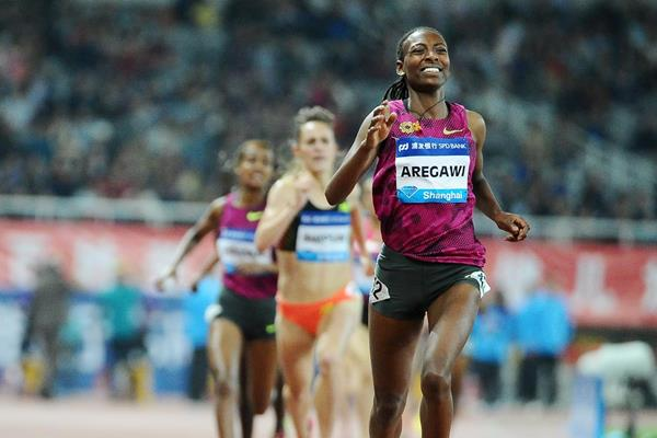Abeba Aregawi wins the 1500m at the 2014 IAAF Diamond League meeting in Shanghai (Errol Anderson)