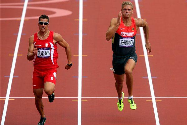 Mihail Dudas of Serbia (L) and Pascal Behrenbruch of Germany compete in the Men's Decathlon 100m Heats on Day 12 of the London 2012 Olympic Games on 08 August 2012 (Getty Images)