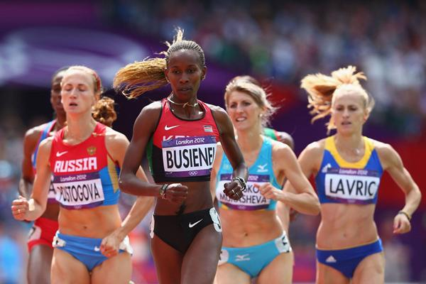 Ekaterina Poistogova of Russia, Janeth Jepkosgei Busienei of Kenya, Margarita Matsko Mukasheva of Kazakhstan and Elena Mirela Lavric of Romania compete in the Women's 800m Round 1 Heats on Day 12 of the London 2012 Olympic Games at Olympic Stadium on August 8, 2012 (Getty Images)