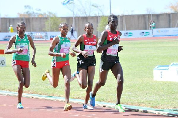 Dawit Seyaum (29) on her way to winning the 1500m at the 2013 African Junior Championships ()