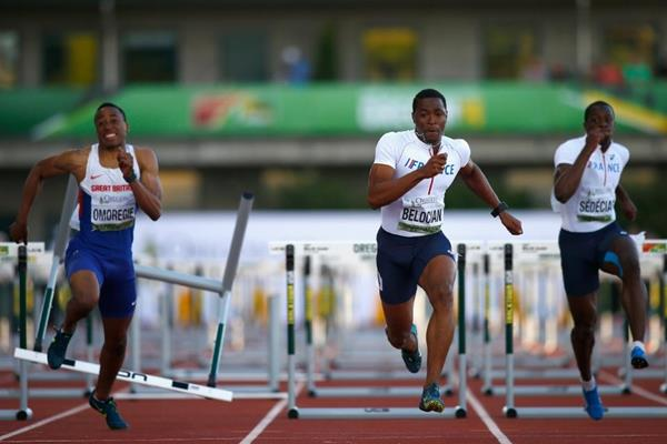 Wilhem Belocian wins the 110m hurdles at the IAAF World Junior Championships, Oregon 2014 (Getty Images)