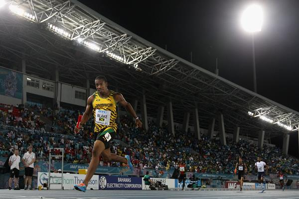 Yohan Blake of Jamaica on his way to anchoring a new world record of 1:18.63 in the Men's 4x200 metres relay during day one of the IAAF World Relays (Getty Images)
