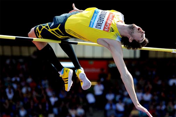 Bohdan Bondarenko wins the High Jump at the Birmingham Diamond League (Mark Shearman)