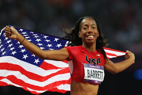 Brigetta Barrett of the United States  won the silver medal in the Women's High Jump Final  of the London 2012 Olympic Games at Olympic Stadium on August 11 2012 (Getty Images)
