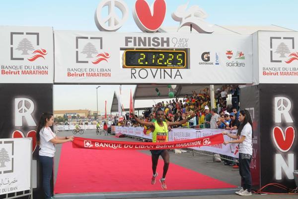 Fikadu Girma wins the 2014 Banque du Liban Beirut Marathon (Organisers)