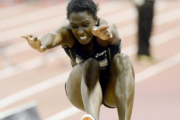 Sharon Day in the pentathlon long jump at the US Indoor Championships (Randy Miyazaki)