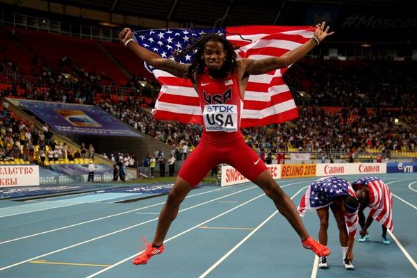 Team USA in the mens 4x400m Relay at the IAAF World Championships Moscow 2013 (Getty Images)
