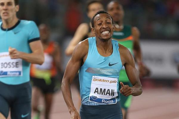 Mohammed Aman winning over 800m at the 2013 IAAF Diamond League in Rome  (Giancarlo Colombo)