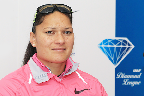 Valerie Adams at the IAAF Diamond League press conference (Jean-Pierre Durand)