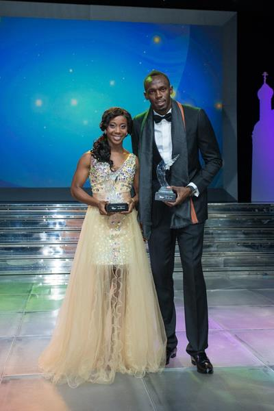 Shelly-Ann Fraser-Pryce and Usain Bolt at the World Athletics Gala 2013 (Philippe Fitte)