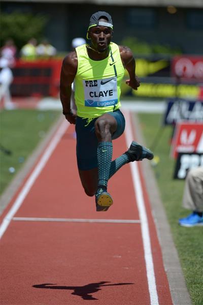 Will Claye, winner of the triple jump at the IAAF Diamond League meeting in Eugene (Kirby Lee)