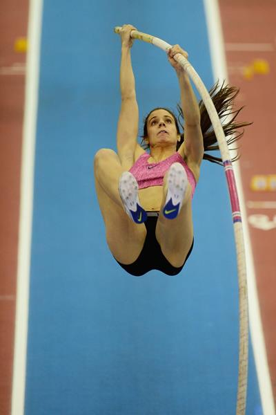 Ekaterini Stefanidi of Greece in action in the women's pole vault (Getty Images)