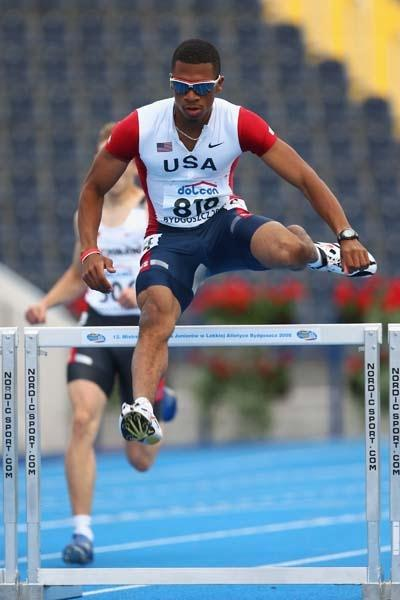Johnny Dutch of USA in action during the Men&#39;s 400m Hurdles heats (Getty Images)