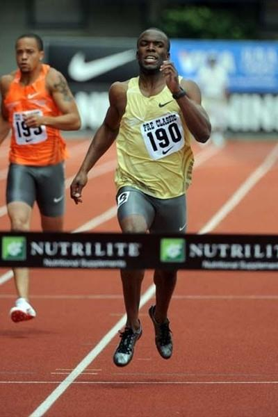 LaShawn Merritt running the 300m in Eugene (Kirby Lee)