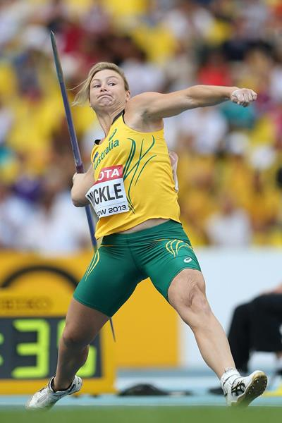 Kimberley Mickle in the womens Javelin Throw Final at the IAAF World Championships Moscow 2013 (Getty Images)