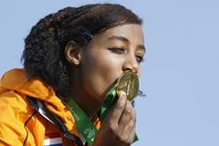 Sifan Hassan after winning the 2013 SPAR European Cross Country Championships women's under 23 title (Getty Images)