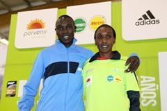 Geoffrey Kipsang Kamworor and Gladys Cherono ahead of the 2014 Bogota International Half Marathon (Vichtah Sailer / Organisers)