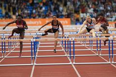 The women's 100m hurdles at the 2014 IAAF Diamond League in Birmingham, Dawn Harper-Nelson on the left. (Jean-Pierre Durand)