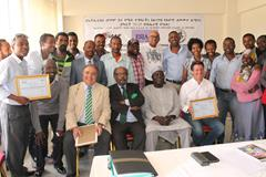 IAAF vice president Sebastian Coe and IAAF council member Frank Fredericks at the ESJA media seminar in Addis Ababa (ESJA)