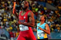 LaShawn Merritt anchors the USA to victory in the 4x400m at the IAAF/BTC World Relays, Bahamas 2015 (Getty Images)