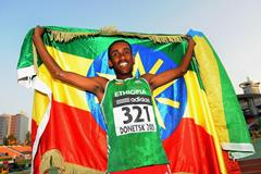 Maresa Kahsay, winner of the 2000m steeplechase at the 2013 World Youth Championships (Getty Images)