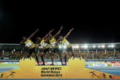 Jamaica celebrate their 4x200m victory at the IAAF/BTC World Relays, Bahamas 2015 (Getty Images)