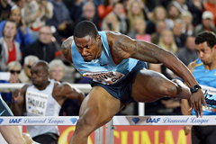 David Oliver winning at the 2013 IAAF Diamond League meeting in Stockholm (DECA Text & Bild)