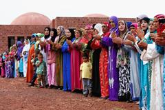Villagers welcome the guests to the Athletics for a Better World event in Ait Iktel (Getty Images)