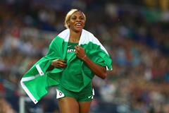 Nigeria's Blessing Okagbare celebrates after winning the 100m (Getty Images)