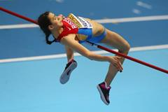 Maria Kuchina in the high jump at the 2014 IAAF World Indoor Championships in Sopot (Getty Images)