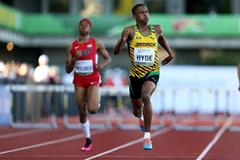 Jaheel Hyde on his way to 400m hurdles gold at the IAAF World Junior Championships, Oregon 2014 (Getty Images)