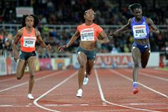 Shelly-Ann Fraser-Pryce winning the 100m at the 2015 IAAF Diamond League meeting in Stockholm (Deca Text&Bild)