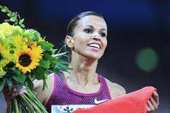 Habiba Ghribi celebrates her steeplechase victory at the IAAF Diamond League final in Zurich (Jean-Pierre Durand)