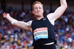 Greg Rutherford in action in the long jump at the IAAF Diamond League meeting in Birmingham (Getty Images)