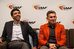 Hicham El Guerrouj and Robert Korzeniowski speak to the press in Monaco (Philippe Fitte / IAAF)